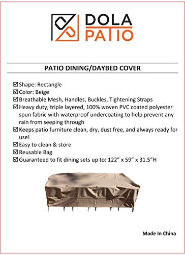Premium Patio Table and Chair Cover Rectangle Waterproof Fits Up To 122-Inch Dining Sets. Outdoor Dining Cover From Dola Patio by Dola Patio (Image #7)