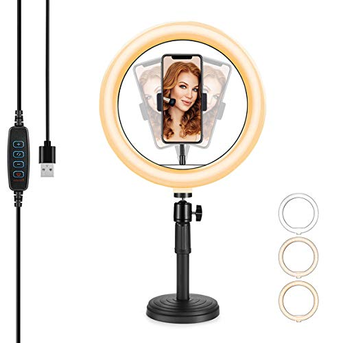 10'' LED Selfie Ring Light with Stand,Dimmable Desktop Circle Light & Flexible Phone Holder Tabletop Halo for YouTube Video/Live Streaming/Makeup/Tiktok/Photo 120 Bulbs for iPhone & Android Phones …