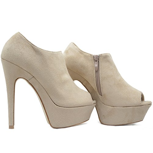 Plateau Peeptoes Stiefeletten Damen Ankle Boots in Velours Samt mit Reißverschluss Beige