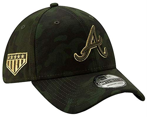 New Era 2019 MLB Atlanta Braves Hat Cap Armed Forces Day 39Thirty 3930 (L/XL) Green/Gold ()