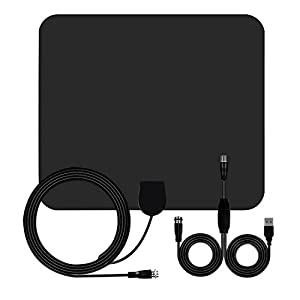 HDTV Antenna, 50 mile Range Indoor Amplified TV Antenna, 1080P Indoor Digital TV HD Antenna, Detachable Amplifier Signal Booster and 13.5ft High Performance Coax Cable