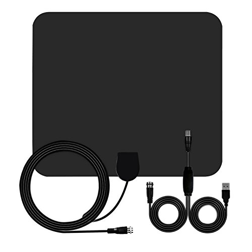 TV Antenna, 50 Mile HDTV Antenna Indoor Long Range Amplified HD Digital TV Antenna Signal Booster Upgraded Version 13.5ft Coaxial Cable (Black)