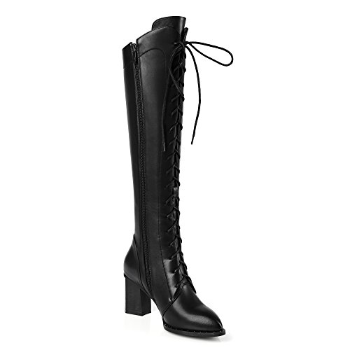 Ladies Zip Pointed toe Block heel Genuine leather Fashion Women boots Fashion High heels Black Brown Knee-high Knight Boots Black 8t9Dctb
