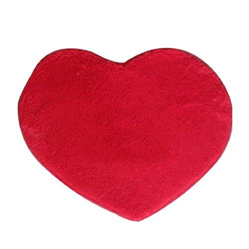 (Gilroy Heart Shape Anti-slip Latex Furry Rug Mat For Bathroom Living Room(30cm x 40cm)- Red)