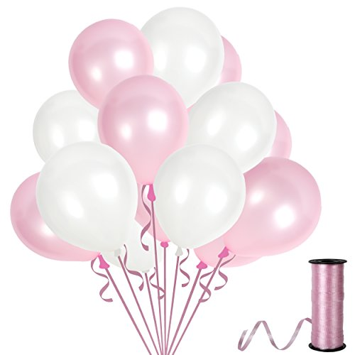 White and Pink Baby Shower Decorations with Elegant Assorted Latex Tropical Pearl Balloons for Birthday Wedding Anniversary Engagement or Unicorn ()