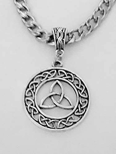 Mens Curb Chain Celtic Circle Pendant Necklace In Antique Silver With Gift Box