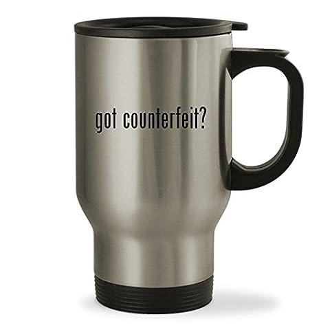 got counterfeit? - 14oz Sturdy Stainless Steel Travel Mug, Silver (Counterfeit Rolex)