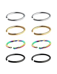 IPINK- Non Pierced Stainless Steel Clip on Closure Round Ring Fake Nose Lip Helix Cartilage Tragus Ear Hoop 4 Pairs