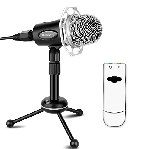 USHAWN Recording Microphone for Mac with 3D External Sound Card and Tabletop Adjustable Desk Stand(Black) by USHAWN
