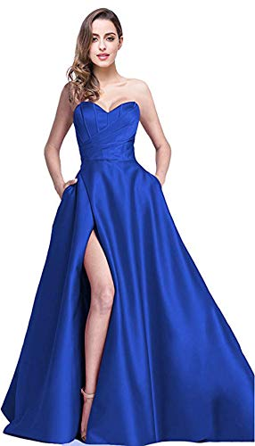 (Ri Yun Women's Sweetheart Prom Dresses Long 2019 High Slit Satin Strapless Formal Evening Ball Gowns with Pockets Royal Blue)