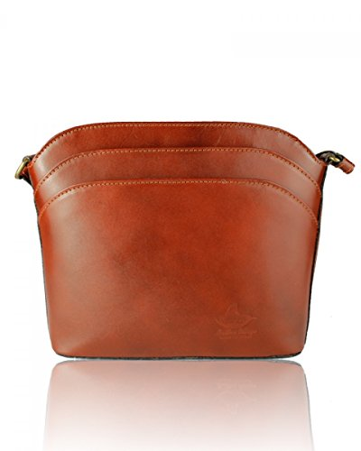 or Shoulder Style1 Body London Cross Bag Pelle Italian Bag new Genuine Handbag Leather Craze Vera Mini Small Tan Pdwvq1w8a