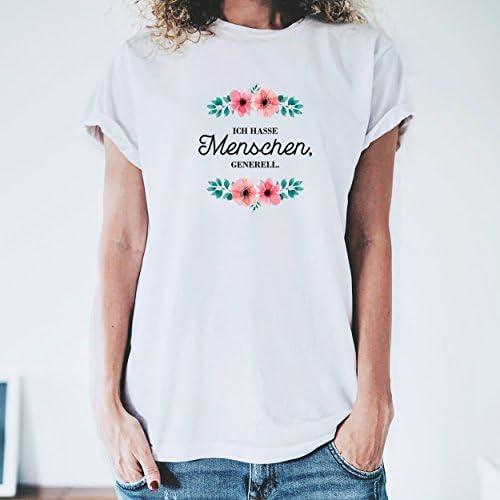 """THEGOODVIBES T-Shirt Damska Kurzarm mit Spruch - """"ICH Hasse Menschen GENERELL lässiger Schnitt & hippes Motiv - ideal für Lange und heiße Sommertage: Odzież"""
