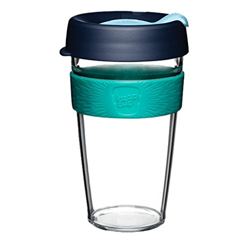KeepCup 16oz Reusable Coffee Cup. Lightweight BPA BPS-Free Clear Plastic With Silicone Band. 16-Ounce/Large, Pistachio