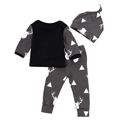Cute 3pcs Newborn Baby Boy Clothes Deer Tops T-shirt+Pants Leggings 3pcs Outfits Set (0-3M, Black)