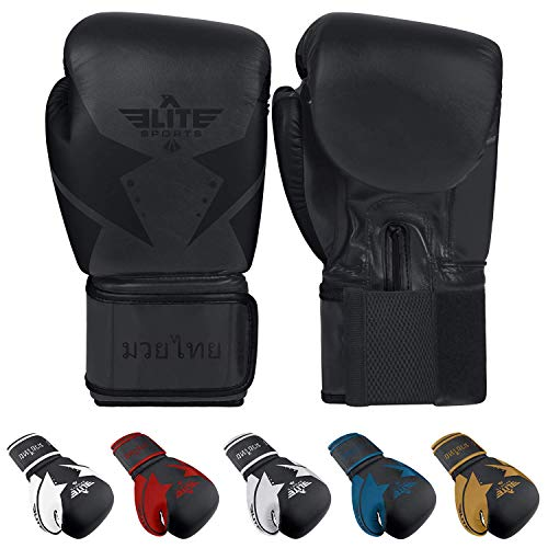 - Elite Sports Muay Thai Star Gloves (Black, 12 oz)