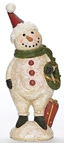 ittered Plumpy Christmas Snowman Figure with Wreath Tabletop ()