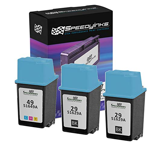Speedy Inks - 3PK Remanufactured Replacement for HP 29 HP 49 51629A 51649A 2 Black & 1 Tri-Color Ink Cartridge Set