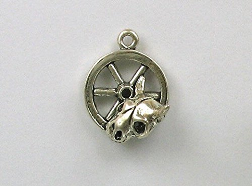 925 Sterling Silver Wagon Wheel & Skull Charm, Cowboy & Southwest Theme Jewelry Making Supply, Pendant, Charms, Bracelet, DIY Crafting by Wholesale Charms -