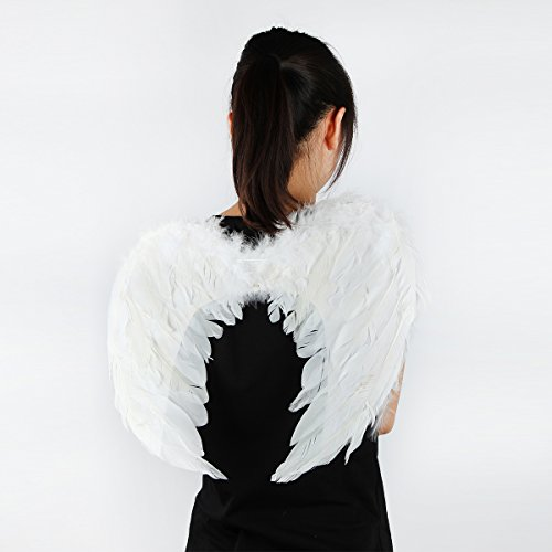 Tongyin Angel Feather Wings Christmas Carol Costume Accessory + Free halo (M, White) (Angel Halo Costume)