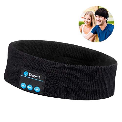 Bluetooth Headband Headphones, LC-dolida Music Headband Sweatband Sport Headbands Built-in Speakers Microphone for Workout, Jogging, Yoga, Black