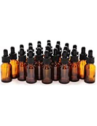 24, Amber, 15 ml (1/2 oz) Glass Bottles, with Glass Eye Droppers