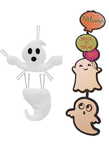 The Spoiled Office Halloween Ghost Decor Bundle for Wreath and Craft Making (3 Piece) 2 Piece Ghost and Bonus Hanging Trick or Treat Sign Halloween Decoration -