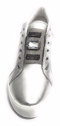 APEPAZZA DLW09 DENICE SILVER Silver slip White VEAL on women rXHqtxwYr