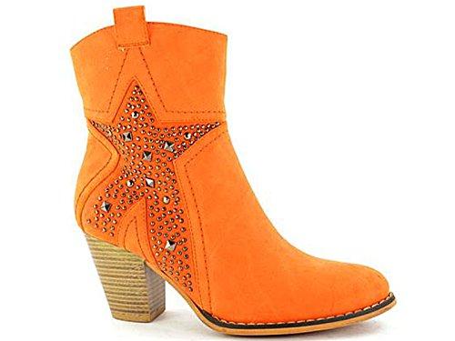 Ser Størrelse Damene Stjernesyklist 8 Skinn Zippe Cowboy Oransje Ankel Blokk 3 Cuban Chelsea Hæl Mid Fabs Boots fTTHwnOt
