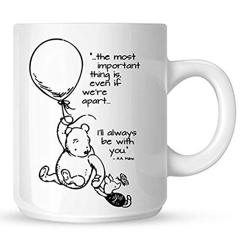 (Winnie The Pooh And Piglet Flying With A Baloon Coffee Mug - 11Oz White Gift For Friend Lover Best Friend Wife Husband In Christmas Birthday Valentine Wedding Day)