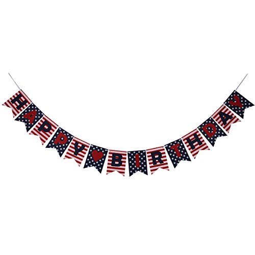 Stars and Stripes Happy Birthday Banner, National Flag Style Banner for 4th of July Decorations Patriotic Decorations Birthday Party,Party Decorations (Happy Birthday On The 4th Of July)