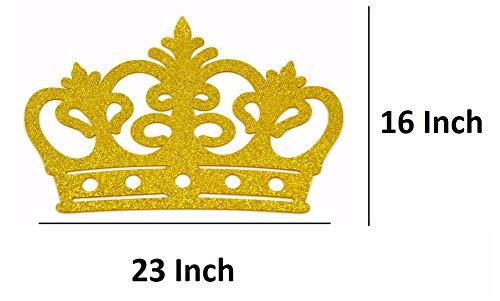 OOKI-Crown Glitter Foam EVA Styrofoam Banner, Backdrop Decoration Wall Decor (Gold, 23 Inch)