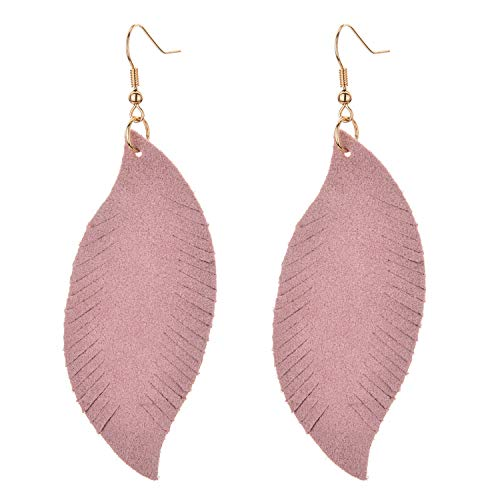 - Feather Leaf Real Leather Earrings for Women Bohemian Lightweight Handmade Pierced Earrings (Pink)