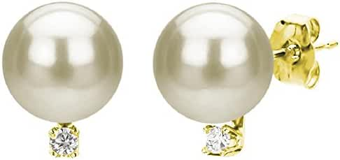 14K Yellow Gold Cultured Freshwater White Pearl Stud Earrings Diamond Jewelry for Women 1/50 CTTW