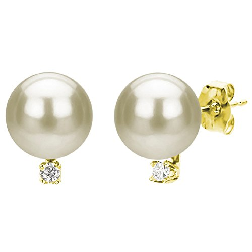 White Cultured Freshwater Pearl Diamond Stud Earrings 14K Yellow Gold Jewelry 1/50 CTTW 5-5.5mm