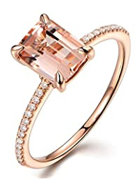 1 Carat Morganite and Round cut Diamond Engagement Ring in Rose Gold