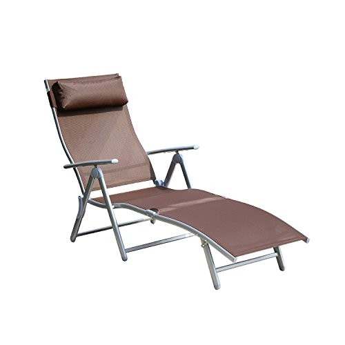 Outsunny Patio Reclining Chaise Lounge Chair with Cushion - Brown and Silver (Outdoor Chaise Lounge Chairs On Sale)