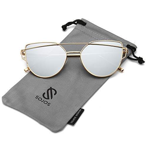 SOJOS Cat Eye Mirrored Flat Lenses Street Fashion Metal Frame Women Sunglasses SJ1001 with Gold Frame/Silver Mirrored Lens