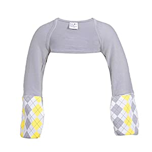Scratch Me Not Flip Mitten Sleeves - Baby Boys' Girls' Stay On No Scratch Mittens - Gray Argyle