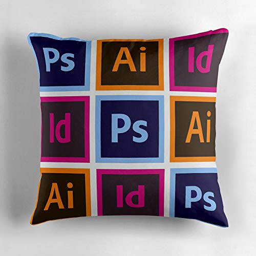 (Soft Plush Throw Pillow Cover Square Pillow Case Couch Pillow Case Cotton 18x18 Inch (Adobe Creative Cloud Pattern) )