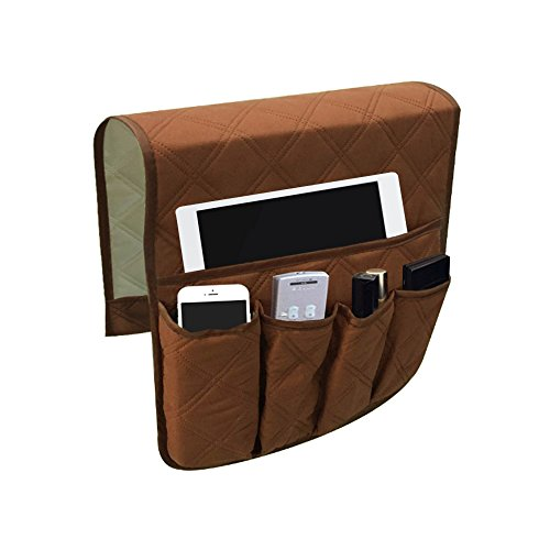 Zivisk Sofa Chair Couch Armrest Organizer, 5 Pockets Anti-Slip Armchair Storage Bag, Fits for Tablet, Phone, Pad, Book, Magazines, TV Remote - Book Control Holder Remote