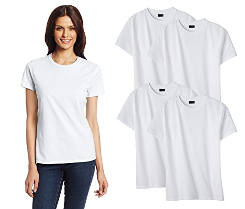 Hanes 4-Pack Ladies Crew Neck T-Shirt, White (Silver Tag), Small