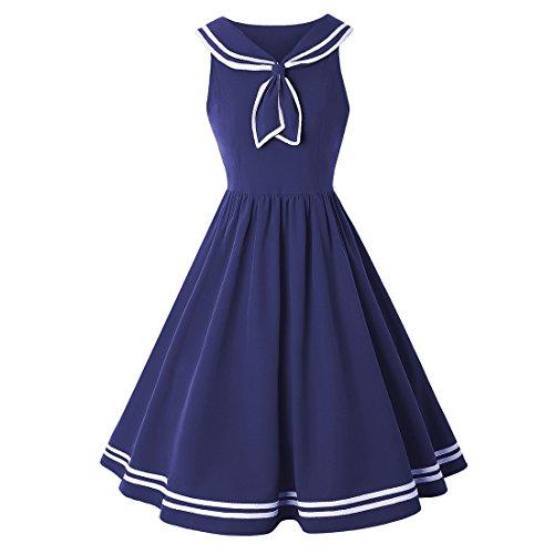 Ez-sofei Women's Vintage Navy Collar Sailor Dress Cocktail Swing Dresses (Blue, ()