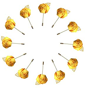 WeddingBobDIY 12Pieces/lot Groom Boutonniere Wedding Silk Rose(3.5cm) Flowers Accessories Prom Pin Man Suit Decoration Gold 38