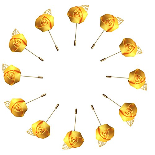 WeddingBobDIY 12Pieces/lot Groom Boutonniere Wedding Silk Rose(3.5cm) Flowers Accessories Prom Pin Man Suit Decoration Gold