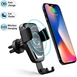 Wireless Car Charger Phone Mount, 2 in 1 Car Air Vent & Dashboard