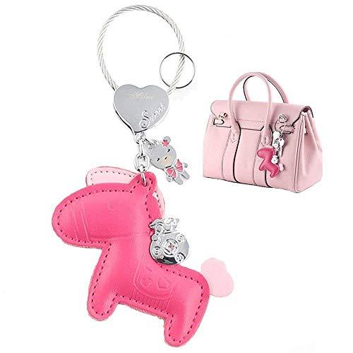 MILESI Cute Horse Keychain (Key Chain) Organizer, Luxury Leather Car Keys Holder, Womens Bag Pendant Charm, Festive Gifts, Rose Red