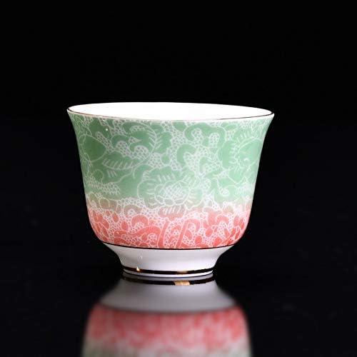 中国茶カップ ファイン80ミリリットルグラデーションの色ドラゴン雲セラミックエナメル手作り白磁カンフーティー薄型ボディシングルカップ(ベイビーブルー02) (Color : Green)