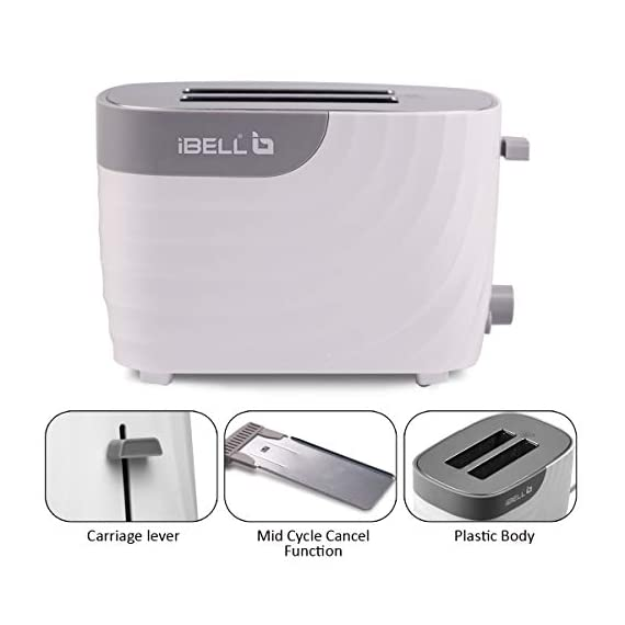 iBELL WG70 700-Watt Premium Pop-up Bread Toaster with Crumb Tray, Mid Cycle Heating Element (White) 6