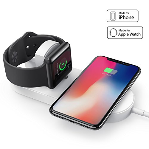 amBand for Apple Watch Charging Stand, Ultra-thin 2 in 1 Qi Wireless Charging Pad Stand for Apple Watch Series 1/2/3, iPhone X/iPhone 8/8 Plus (AC Adaptor not included)