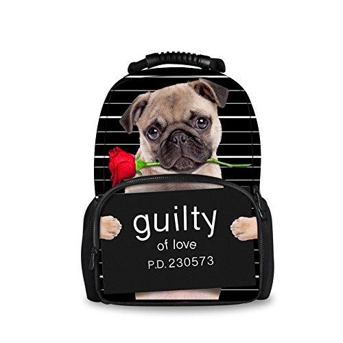 Showudesigns Preppy Style Teenger Girls School Bag Backpack Pug Dog - Preppy Style Hipster